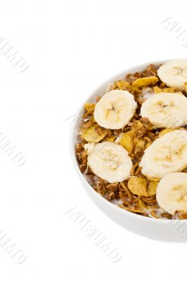 cropped image of bowl of cereal with banana
