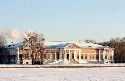 Kuskovo Estate. View of the ducal palace from the Great Pond