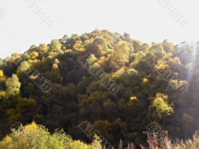 Autumn and caucasus mountains. Season landscape