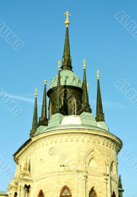 Top f the church built in russian gothic style (pseudo gothic)