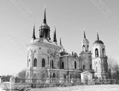 White stone church built in russian gothic style (pseudo gothic)
