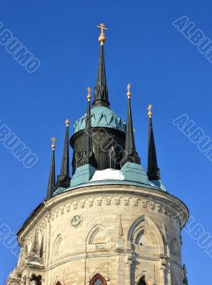 top of the church built in russian gothic style (pseudo gothic)