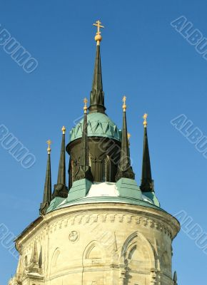 top of the church built in russian gothic style