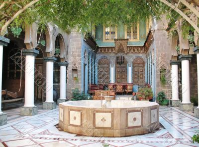 Eastern courtyard with a fountain