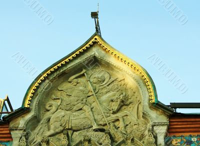 detail of facade of the Tretyakov Gallery in Moscow