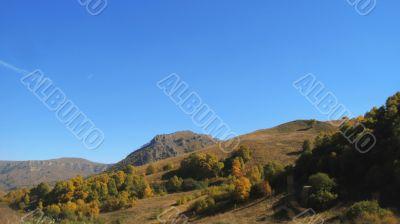 Autumn and caucasus mountains. Season landscape