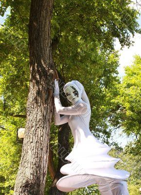 Girl in a fancy masquerade dress