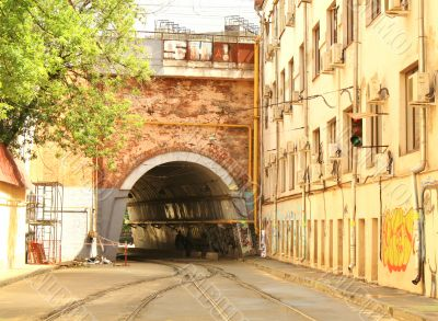 Tunnel with tram rails way