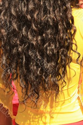 Curly women's hair