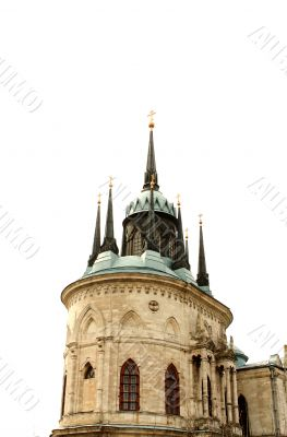 Top of the white stone gothic church