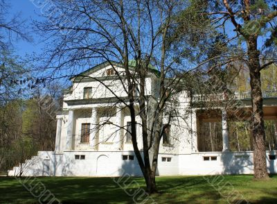 White building of the estate near Moscow