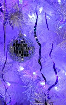 Beautiful mirror ball on a Christmas tree