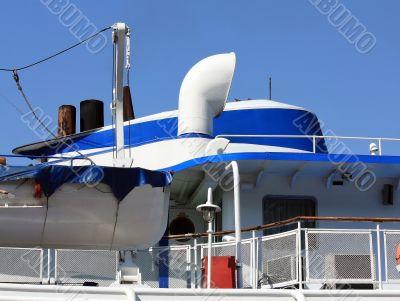 Captain`s cabin of the river passenger liner