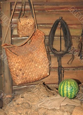 Pots in a peasant`s hut