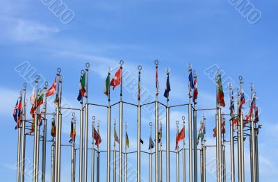 48 columns with the flags of European countries