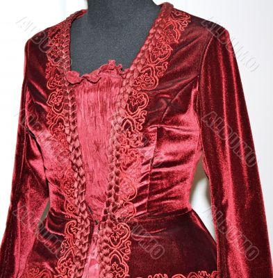 Embroidered red velvet women`s dress