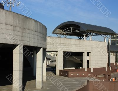 Architectural structures in the modern style of concrete
