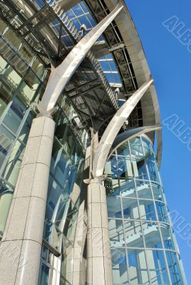 Architectural structures in the modern style of glass and steel