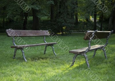 Two empty benches