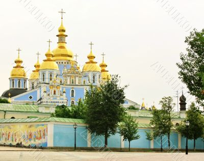 Domes of the St. Michael`s Monastery in Kiev