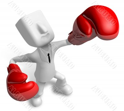 Powerful punching business man, 3D Business Character
