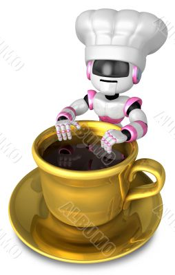 Chef leaning on a Gold cup of coffee. 3D Robot Character