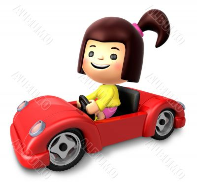 Red sports car ride girls. 3D Children Character