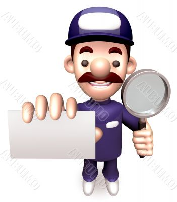 Business card service man. 3D Business Character