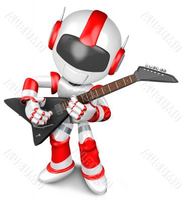 The playing electric guitar in Robot. 3D Robot Character
