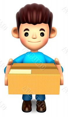 Man holding the delivery box. 3D Children Character