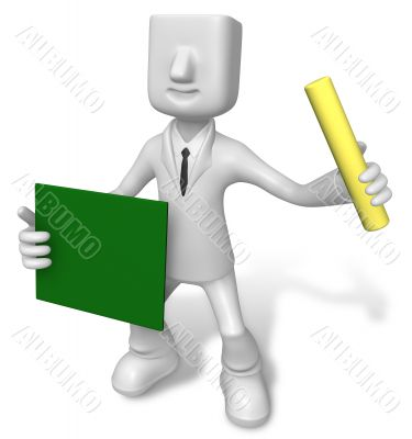 Business man holding a blackboard and chalk. 3D Business Charact
