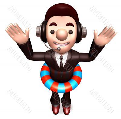 A Salesman wearing a tube. 3D Salesmen Character