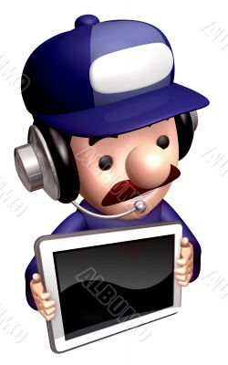 The service man shows the monitor. 3D Business Character
