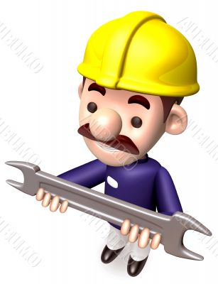 Construction site man holding a spanner. 3D construction works C