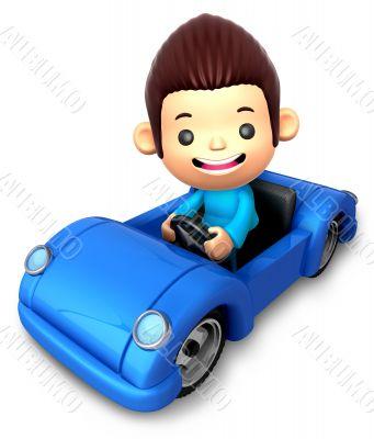 Boy riding in an Blue open car. 3D Children Character
