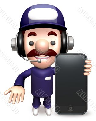 Smartphone showing service man. 3D Business Character