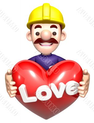 A man holding a Heart. 3D construction works Character