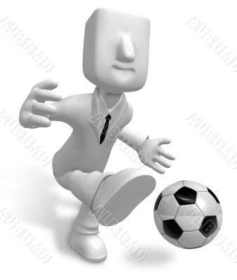 Strong business man kicking a soccer ball. 3D Business Character