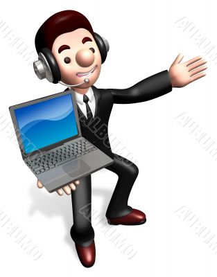 The laptop sale shop staff grasp. 3D Business Character