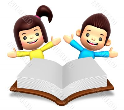 A boys and girls in the big book reading. 3D Children Character