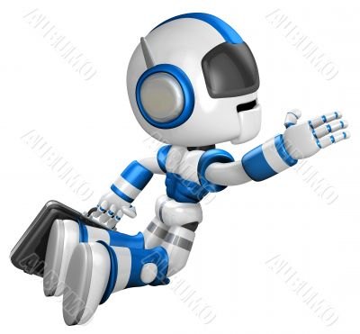Flying Robot carrying a Briefcase. 3D Robot Character