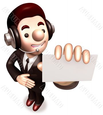 A business card giving a man. 3D Business Character