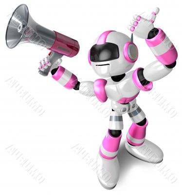 The pink robot in to promote Sold as a loudspeaker. 3D Robot Cha