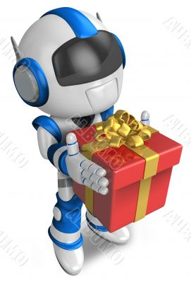 Blue robot holding a gift faintheartedly. 3D Robot Character