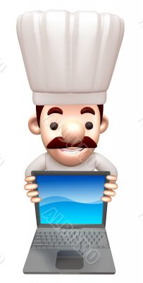A chef advertised as a notebook computer. 3D Chef Character