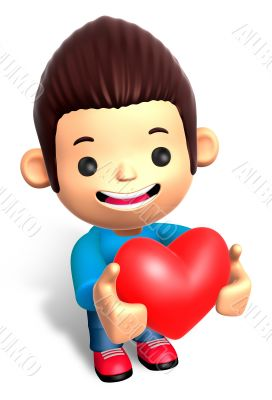 A Man Grasp a Heart. 3D Children Character