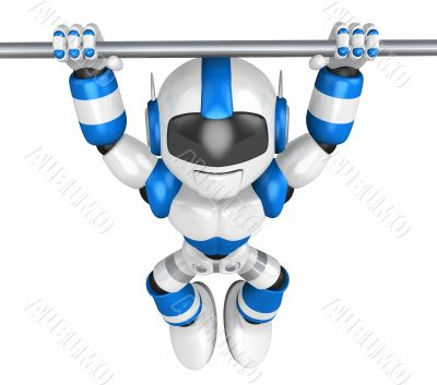 The pull up to blue robot, A chin up. 3D Robot Character