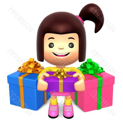 Children received a Many gift. 3D Kids Character