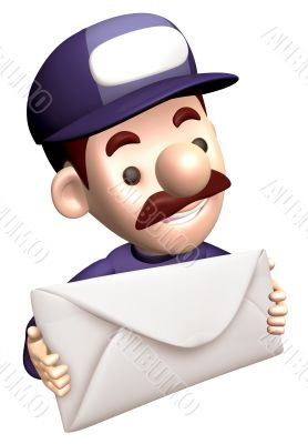 Service man Grasp a big letter. 3D Service Man Characte