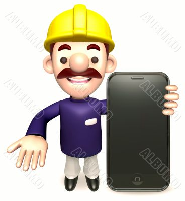 Staff to promote the mobile phone. 3D Sales Man Character